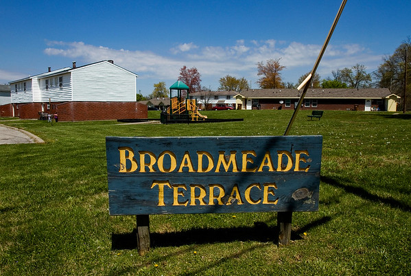 A sign for Broadmeade Terrace is pictured at an entrance to the New Albany Housing Authority apartments located at the intersection of Graybrook Lane and Minton Drive on Friday afternoon. Staff photo by Christopher Fryer