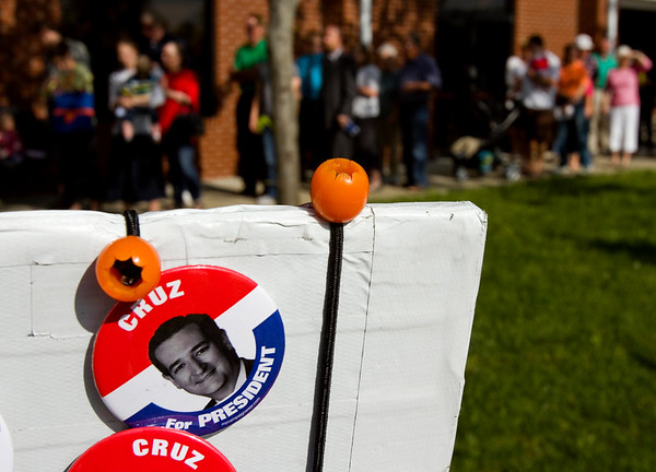 Ted Cruz buttons are pictured outside of Huber's Orchard and Winery prior to a rally for the presidential candidate in Starlight on Monday. Staff photo by Christopher Fryer