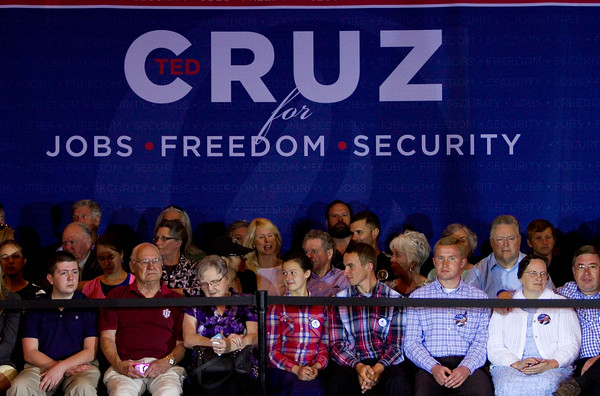 Ted Cruz supporters wait for the presidential candidate to arrive prior to a rally at Huber's Orchard and Winery in Starlight on Monday ahead of Indiana's primary election next Tuesday. Staff photo by Christopher Fryer