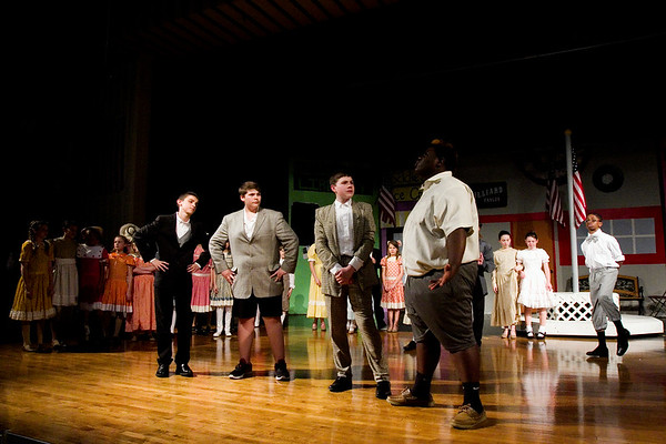 "Scribner Middle School students act out a scene in ""The Music Man Junior"" during a dress rehearsal Tuesday evening. The musical runs Fri., April 29 through Sat., April 30 with shows at 7 p.m. both nights. Student tickets are $5 and adults are $10. Staff photo by Christopher Fryer"