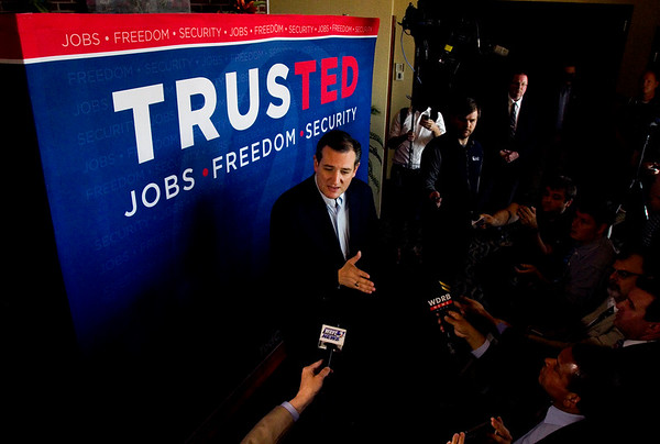 Presidential candidate Ted Cruz speaks to members of the media prior to a rally at Huber's Orchard and Winery in Starlight on Monday ahead of Indiana's primary election next Tuesday. Staff photo by Christopher Fryer