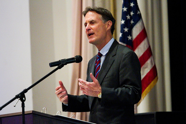 Former Indiana Gov. and U.S. Sen. Evan Bayh speaks during the Floyd County Democratic Party 2016 Jefferson-Jackson Dinner in downtown New Albany on Thursday evening. Staff photo by Christopher Fryer