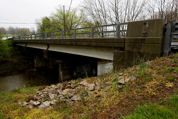 The Scottsville Road bridge that spans Indian Creek near the intersection of Fertig Creek Road is pictured in Floyd County on Monday afternoon. The bridge is slated for repairs, including deck work. Staff photo by Christopher Fryer