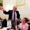 Indiana Democratic Gubernatorial Candidate John Gregg visits with supporters during the Floyd County Democratic Party 2016 Jefferson-Jackson Dinner at The Grand in downtown New Albany on Thursday evening. Staff photo by Christopher Fryer