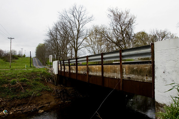The Salem Noble Road bridge that spans Pleasant Run is pictured in Clark County on Monday afternoon. The county plans to widen the bridge to accommodate current and future traffic. Staff photo by Christopher Fryer