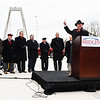 Walsh Construction CEO Matt Walsh speaks to attendees of the Lewis and Clark Bridge opening on Sunday. Staff photo by Tyler Stewart