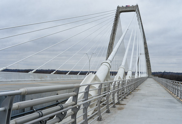Cable stays anchor into the deck of the east end bridge, now formally named the Lewis and Clark Bridge, as seen from the bridge's pedestrian walkway. Staff photo by Tyler Stewart