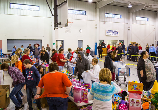 New Albany's Salvation Army held their Angel Tree event this Saturday. They reported to have had enough toys for over three thousand children and bagged clothing and canned goods for over 1,500 families. Staff Photo By Josh Hicks