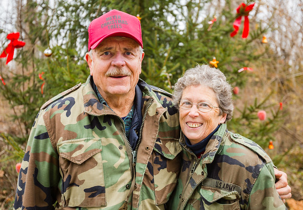 Mike Meyer, left, and his wife Laura sold their first Christmas Tree in 1982.