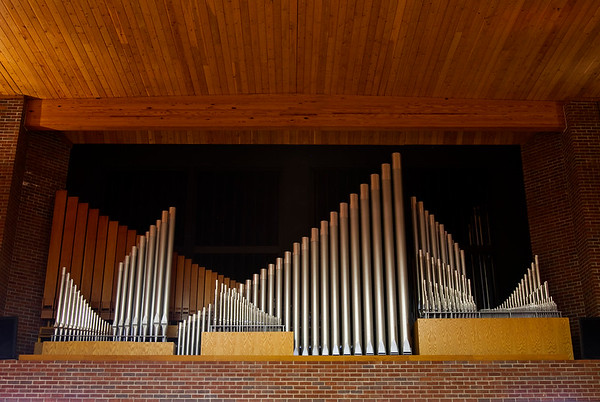 Pipe ranks of the Horace Wesley Cutler Memorial Pipe Organ are pictured in the sanctuary at Trinity United Methodist Church in New Albany. Staff photo by Christopher Fryer