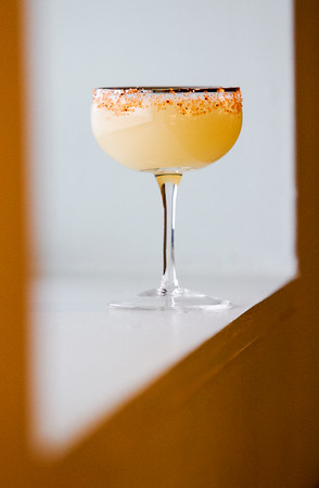 A Yuzuyu Margarita is pictured at Dragon King's Daughter in downtown New Albany. Staff photo by Christopher FryerIngredients:El Jimador Reposado TequilaCointreauginger, lemongrass and honey syrupyuzu juice