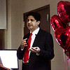 Cardiologist Surender Sandella speaks during the annual Heart Healthy Eating event in the Paris Health Education Center at Floyd Memorial Hospital in New Albany on Tuesday evening. Sandella's presentation on heart health was followed by a cooking demonstration, and about 65 people attended the event. Staff photo by Christopher Fryer