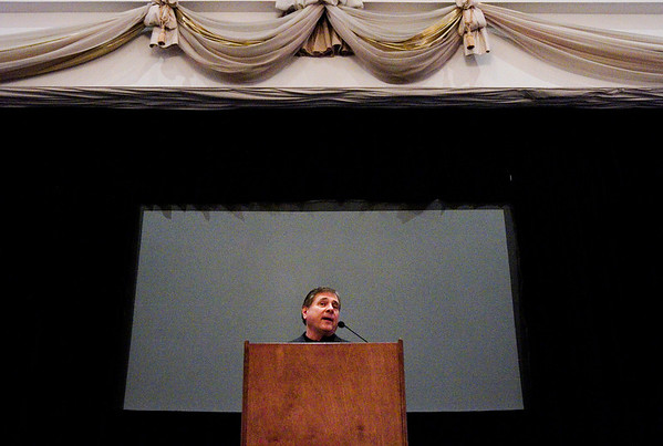 University of Louisville Vice President and Director of Athletics Tom Jurich speaks during a luncheon celebrating the 25th anniversary of the Community Foundation of Southern Indiana at The Grand in downtown New Albany on Thursday afternoon. Staff photo by Christopher Fryer