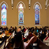 Audience members listen to speakers during the 32nd annual Dr. Martin Luther King, Jr. Memorial Service at First Presbyterian Church in downtown Jeffersonville on Monday afternoon. Staff photo by Christopher Fryer