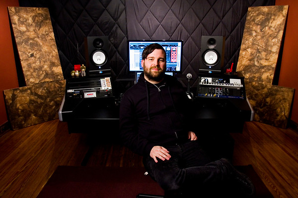 Producer and editor Michael Sanders, Jeffersonville, is pictured at his work station at Jetlag Recordings in Jeffersonville on Tuesday afternoon. Staff photo by Christopher Fryer