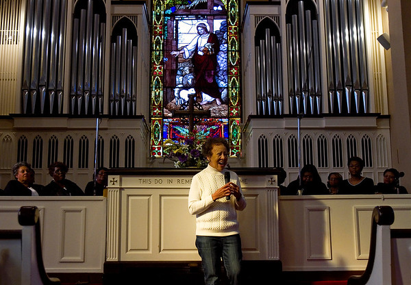 Fay Allen, Jeffersonville, speaks after audience members were invited to share offerings from their hearts and minds during the 32nd annual Dr. Martin Luther King, Jr. Memorial Service at First Presbyterian Church in downtown Jeffersonville on Monday afternoon. Staff photo by Christopher Fryer