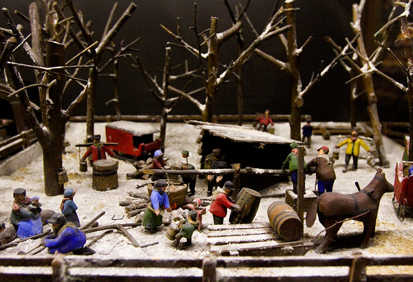 The Maple Sap Collection Diorama is pictured in a case following an opening ceremony for The Yenawine Dioramas at the New Albany-Floyd County Public Library in downtown New Albany on Thursday evening. Staff photo by Christopher Fryer
