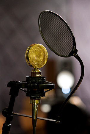 A ribbon microphone is pictured in the studio at Jetlag Recordings in Jeffersonville on Tuesday evening. Staff photo by Christopher Fryer
