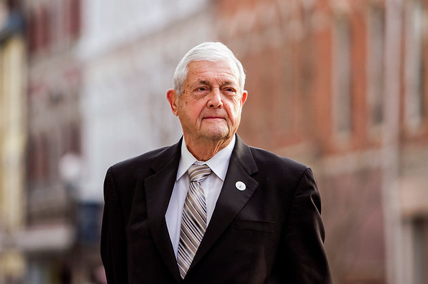 Warren Nash, 79, is pictured in downtown New Albany on Wednesday afternoon. Nash has been involved in local politics for 50 years, which included a term as New Albany's Mayor from 1971-1975. He is currently the president of the New Albany Board of Works, and works as a full-time real estate broker. Staff photo by Christopher Fryer