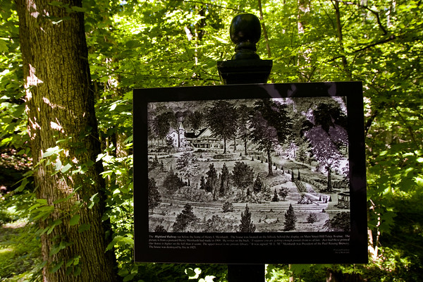 An illustrative display that provides historic information about the Henry L. Meinhardt house that was destroyed by a fire in 1925, shown in the illustration, is pictured along The Silver Hills Historic Nature Trail in New Albany. Staff photo by Christopher Fryer