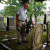 C. Henry Withers, 86, Laconia, pauses for a moment of silence before placing a memorial wreath on the grave of his great-great grandfather, Patrick Shields, at Fairview Cemetery in New Albany on Wednesday morning during a 1816 State Constitutional Delegate Memorial Ceremony put on by the Indiana Archives and Records Administration. Shields was one of the 43 early settlers that met in Corydon 200 years ago to establish Indiana's statehood and write the state's first constitution. Staff photo by Christopher Fryer