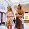 The reigning Miss Harvest Homecoming, Laura Merida, 22, Georgetown, right, and Miss Harvest Homecoming's Outstanding Teen, Blair Barker, 14, New Albany, are pictured at the Carnegie Center for Art and History in downtown New Albany during a send-off party prior to their competition in the Miss Indiana Pageant, which will be held at Zionsville Community High School on June 18. Staff photo by Christopher Fryer