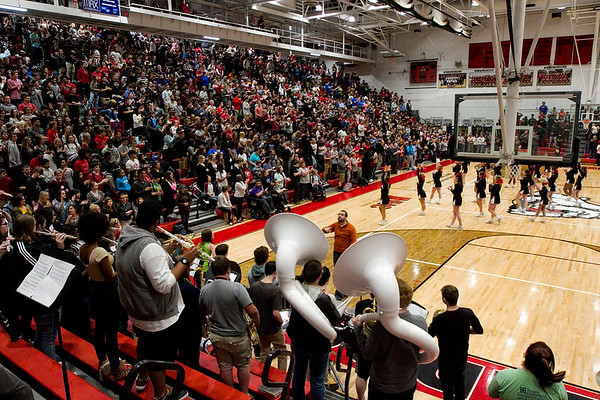 The New Albany High School student body is pictured in the Doghouse during a pep rally Tuesday ahead of the Bulldogs' Class 4A state championship game against McCutcheon that is scheduled for Saturday night at Bankers Life Fieldhouse in Indianapolis. Staff photo by Christopher Fryer