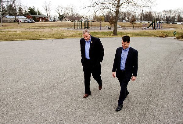Rep. Todd Young, R-Indiana, speaks with Childplace Inc. CEO Nathan Samuel while touring the adoption, counseling, foster care, and residential treatment not-for-profit agency in Jeffersonville on Monday afternoon. Young is currently working on the Modernizing the Interstate Placement of Children in Foster Care Act, which aims to decrease placement time for children in the foster system. Staff photo by Christopher Fryer