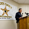 Scott County Sheriff Dan McClain speaks during a press conference in Scottsburg on Tuesday afternoon surrounding a double homicide investigation in the 10100 block of East Ind. 356 in Lexington, where Michelle Brewer, 46, and Jessie Bowling, 51, were found dead Monday evening. Staff photo by Christopher Fryer