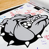 A spirit poster is pictured in the Doghouse prior to a pep rally at New Albany High School on Tuesday ahead of the Bulldogs' Class 4A state championship game against McCutcheon that is scheduled for Saturday night at Bankers Life Fieldhouse in Indianapolis. Staff photo by Christopher Fryer