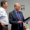 New Albany Mayor Jeff Gahan presents a city proclamation for Nutrition Awareness Day to LifeSpan Resources Executive Director Keith Stormes during a program in recognition of Nutrition Awareness Week at Riverview Tower in downtown New Albany on Wednesday morning. Staff photo by Christopher Fryer