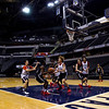 New Albany is pictured on the court at Bankers Life Fieldhouse during a practice session Wednesday afternoon ahead of the Bulldogs' game against McCutcheon for the Class 4A state title, which is scheduled for Saturday night. Staff photo by Christopher Fryer