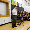 Motivational speaker Mark Hublar, a 51-year-old New Albany resident with Down syndrome, speaks to Utica Elementary School students in observance of Indiana's Disability Awareness Month in the school gymnasium Monday morning. Staff photo by Christopher Fryer