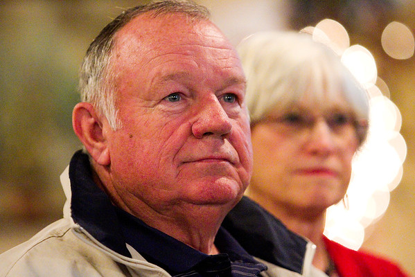 Floyd County Council At-Large Republican candidate Jim Wathen looks on as results come in at the Calumet Club in New Albany on Tuesday evening. Staff photo by Christopher Fryer
