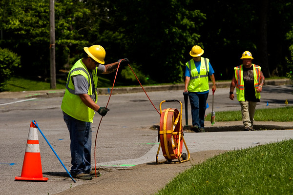 A crew with Miller Pipeline out of Clarksville performs a preliminary gasline inspection along Bono Road ahead of reconstruction work to the New Albany roadway that is set to begin May 16. Staff photo by Christopher Fryer