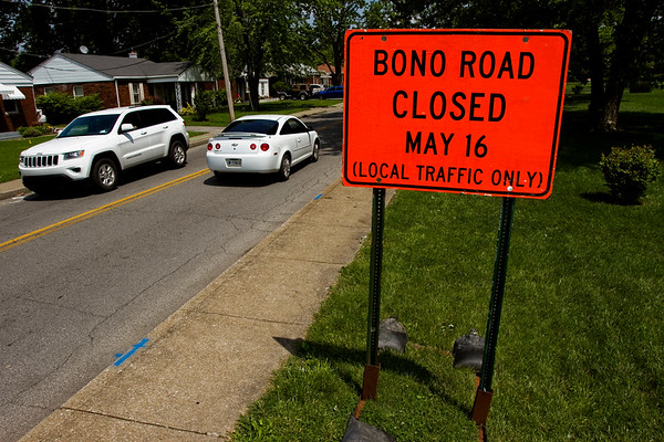 Traffic moves along Bono Road near the intersection of Green Valley Road in New Albany on Wednesday afternoon. A full reconstruction project on Bono Road is set to begin May 16. Staff photo by Christopher Fryer