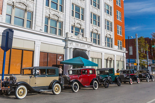 The Elsby Building invites vintage Ford cars to its 100th birthday on Saturday in New Albany. Staff Photo By Josh Hicks