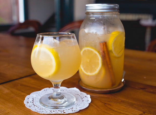 Portage House's brandy punch features a Mason jar shaker and comes in both sixteen and thirty-two ounce sizes, for sharing. Staff Photo By Josh