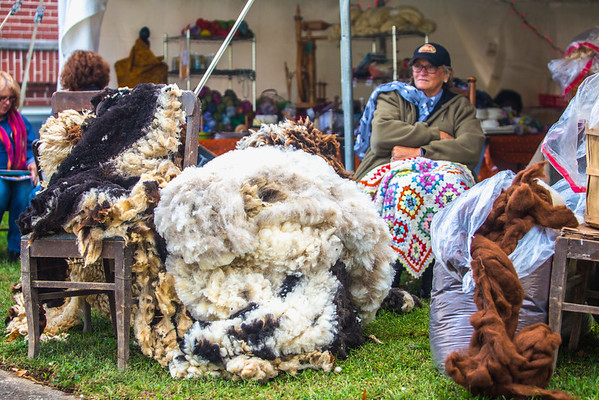 Linda Schooler of Shady Lane Farm sits bundled up alongside her huge piles of sheep wool at the Fiber Arts Festival at the New Albany Masonic Lodge on Friday. Shady Lane Farm is located at 7380 Jersey Park Rd. and has kept sheep for 20 years. Staff Photo By Josh Hicks