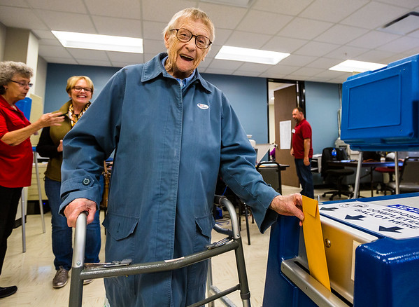 Bertha Cummins, who turns 101-years-old this Halloween, casts her ballot at the courthouse in Jeffersonville on Thursday. Staff Photo By Josh Hicks