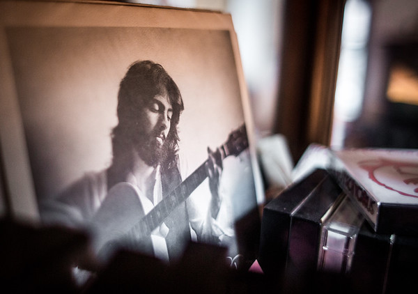This extended play, vinyl 7-inch record bares a photograph of Rick Bustch playing guitar in the 1980's. Staff Photo By Josh Hicks
