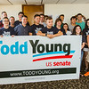 A group of volunteers gathers in suppport of Indiana Republican Senate candidate Todd Young at the Clark County GOP headquarters in Jeffersonville on Saturday. Staff Photo By Josh Hicks