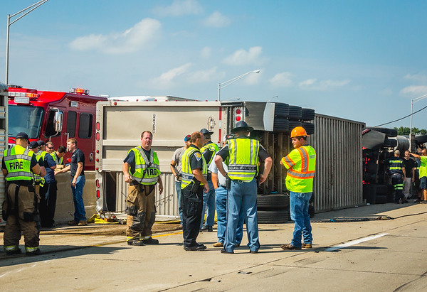 A portion of northbound Interstate 65 in Clark County is closed after a semi carrying cattle overturned Friday afternoon. Staff Photo by Josh Hicks