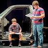 "Charlestown Middle School's Dallas Edwards, 12, going over some lines with director Kyle Reagan during Charlestown High School's rehearsal for Queen musical ""We Will Rock You."" Staff Photo By Josh Hicks"