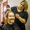 "Jennifer Hottel gives James Dwayne Hooper a new ""doo"" at the soup kitchen located at Centenary United Methodist Church in New Albany on Thursday. Staff Photo By Josh Hicks"