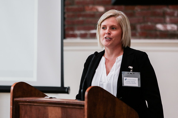 Lindsey Vissing, Executive Director of Southern Indiana Comprehensive Treatment Center, introduces speakers at a Medication Assisted Treatment panel at Kye's on Thursday. Staff Photo By Josh Hicks