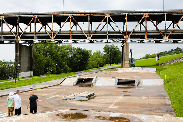 The New Albany Riverfront Skatepark is located underneath the Sherman-Minton Bridge. Staff Photo By Josh Hicks