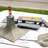 These clay concepts for ramps and a picnic table may get built at the New Albany Riverfront Skatepark. Staff Photo By Josh Hicks