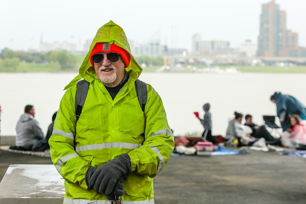 Don Dewees put on his rain gear and drove in from Brown County as he does annually for the air show and fireworks of Thunder. Staff Photo By Josh Hicks