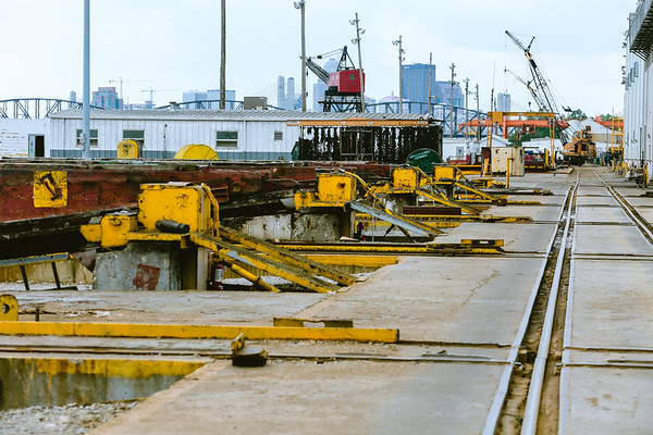 The launch area has special mechanisms that push barges into the Ohio River upon completion. Staff Photo By Josh Hicks